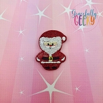 Kawaii Santa Christmas Feltie ITH Embroidery Design 4x4 hoop (and larger)